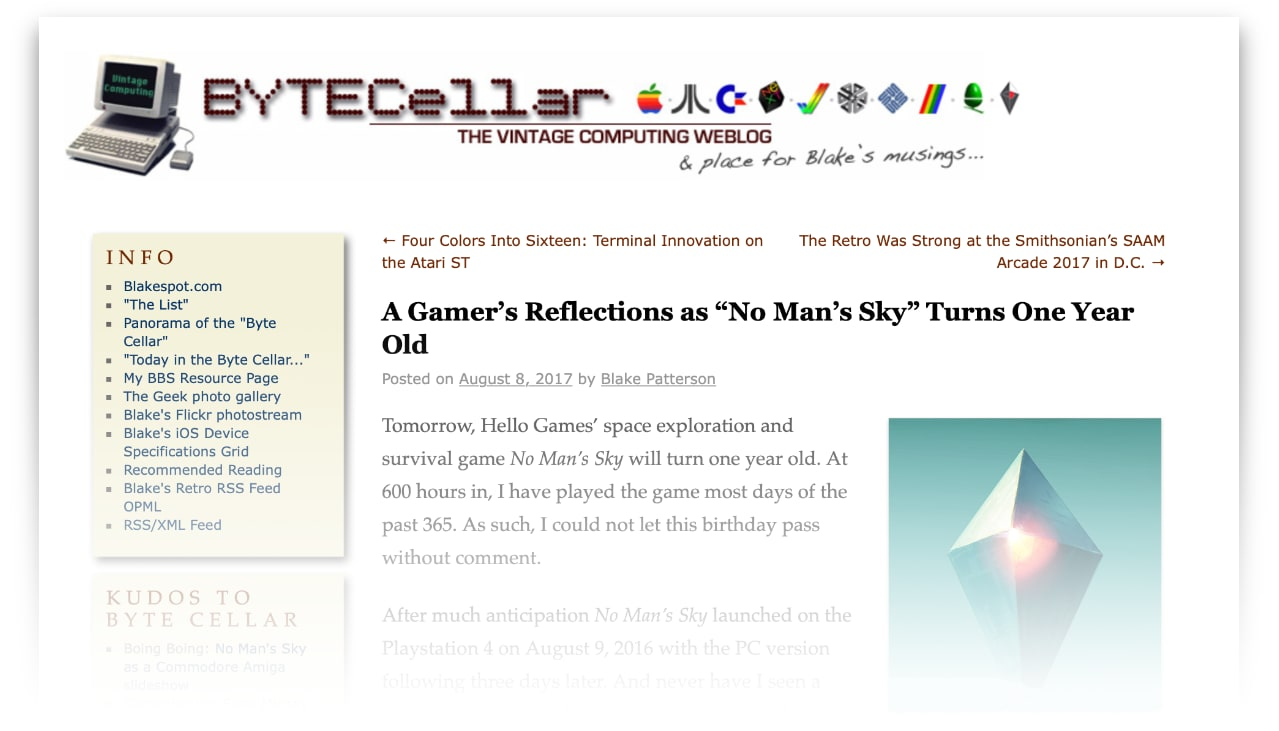screenshot of a section of the ByteCellar blog showing an older No Man's Sky post on the page