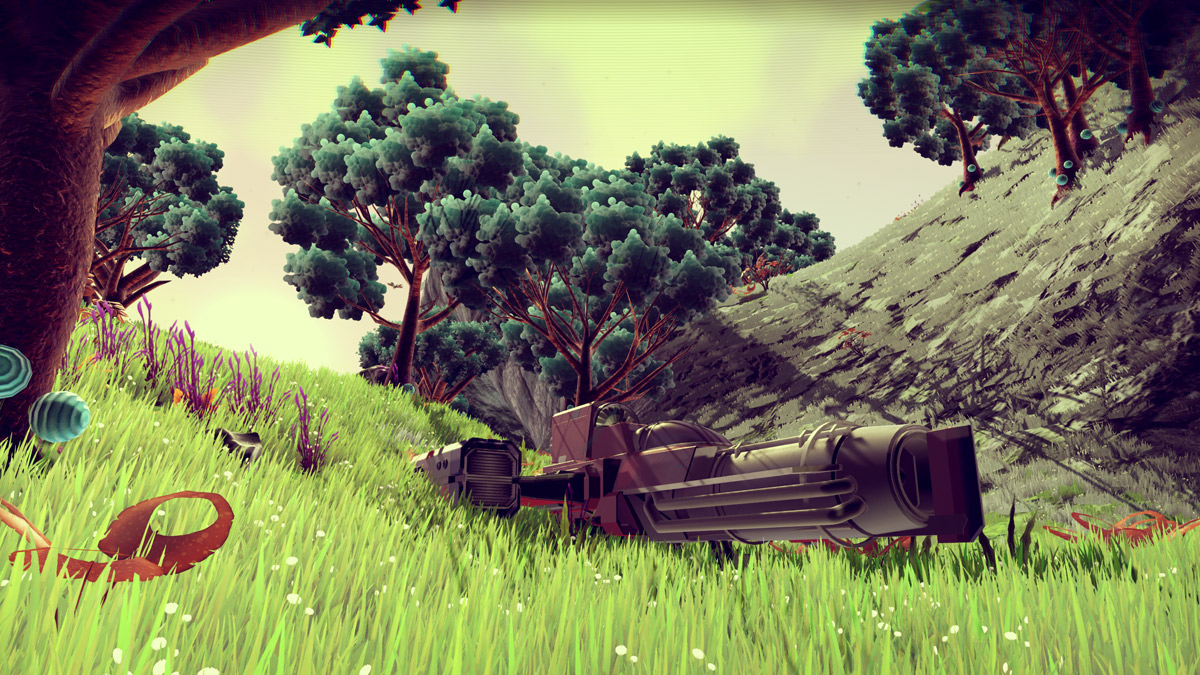 No Man's Sky screenshot showing starship sitting in a lush meadow with trees in the distance