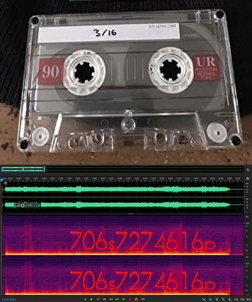 Mysterious audio cassette tape sent out by Hello Games along with spectrogram of the audio within, revealing a signal in then noise...
