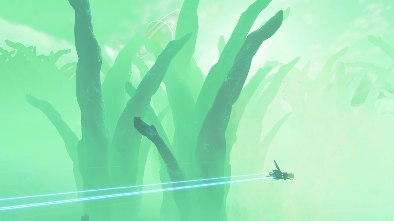 photo of a starship flying through a green haze above a planet covered in gargantuan flora