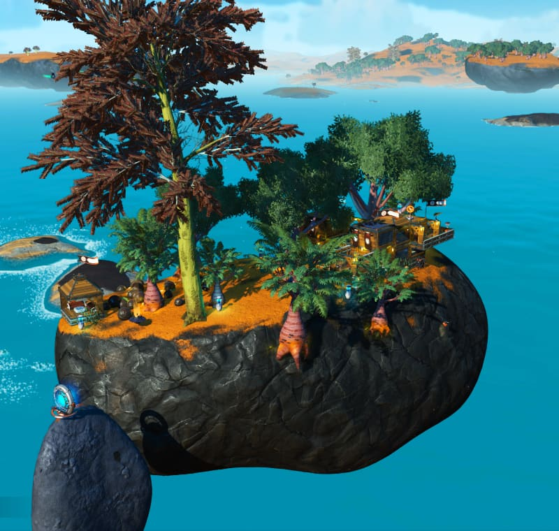 The floating rock island on which sits the Sky Island Cottage