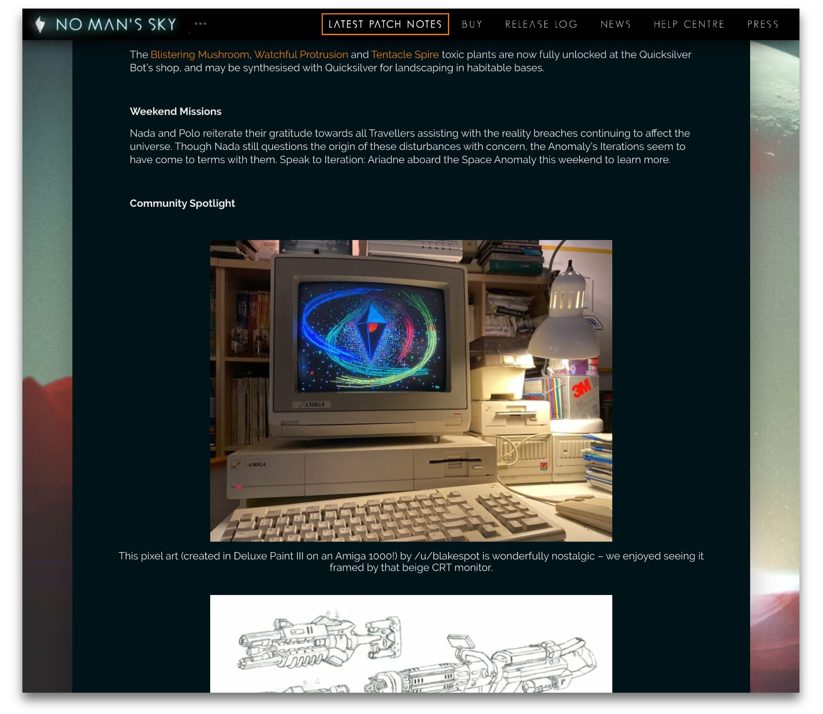 No Man's Sky graphic shown rendered on an Amiga CRT on Hello Games' Community Spotlight website section