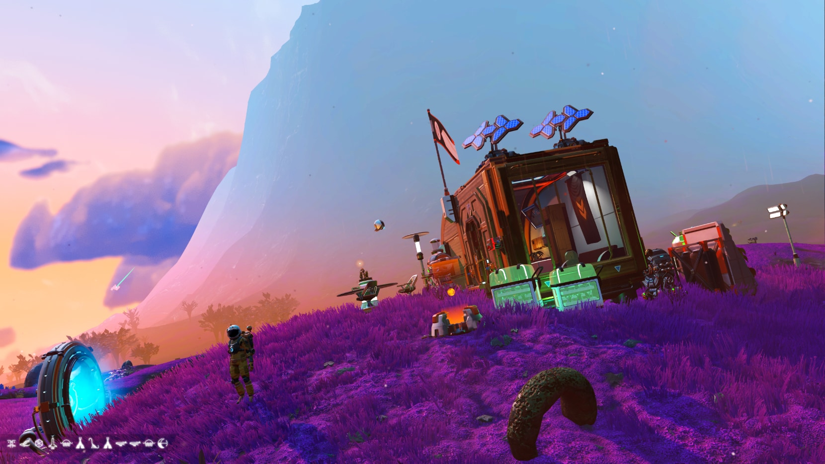Two-room tiny house on a purple, lush world with a mountain looming in the backgdrop