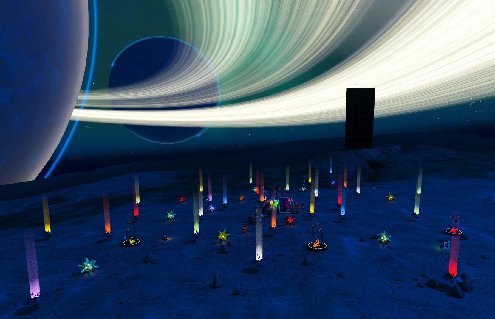 Tiny moon base at night with colorful lights all around it
