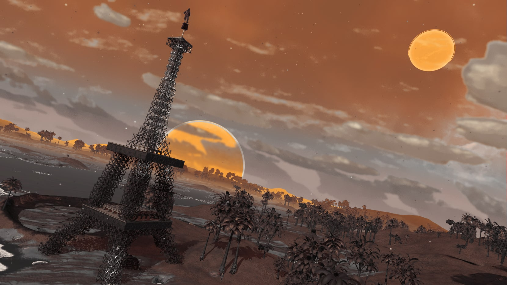 Eiffle Tower base and orange moons