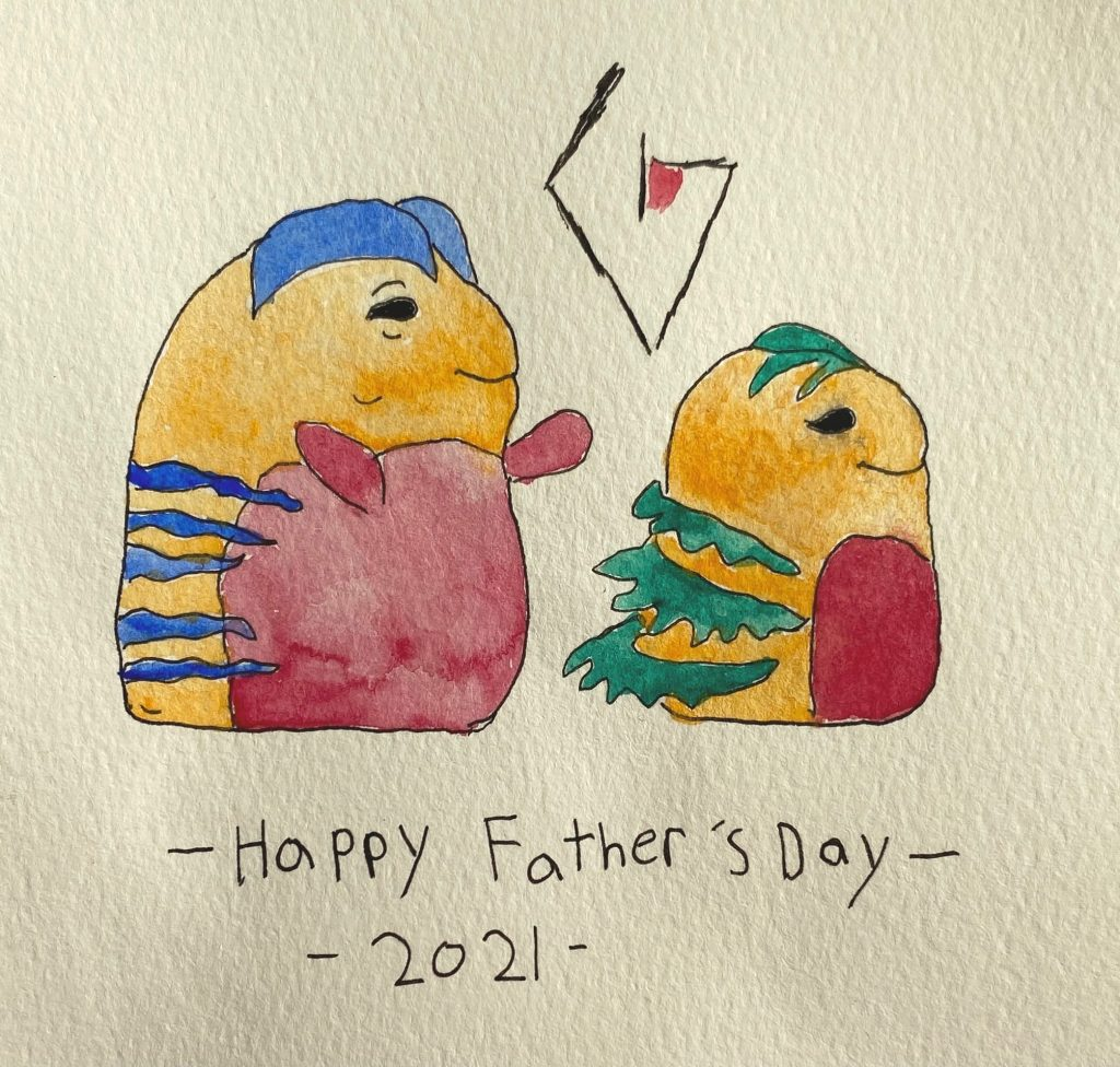 Father's Day card featuring watercolor blobs