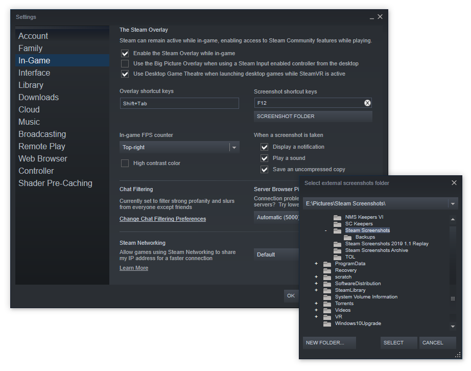 Steam Uncompressed Screenshot Menu Item