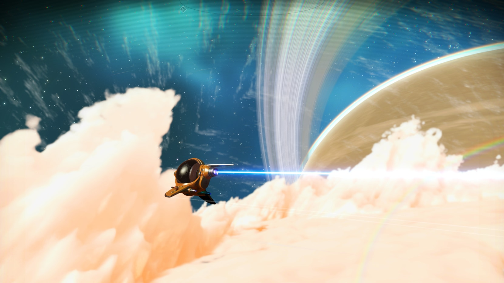 An exotic ship flying through the clouds