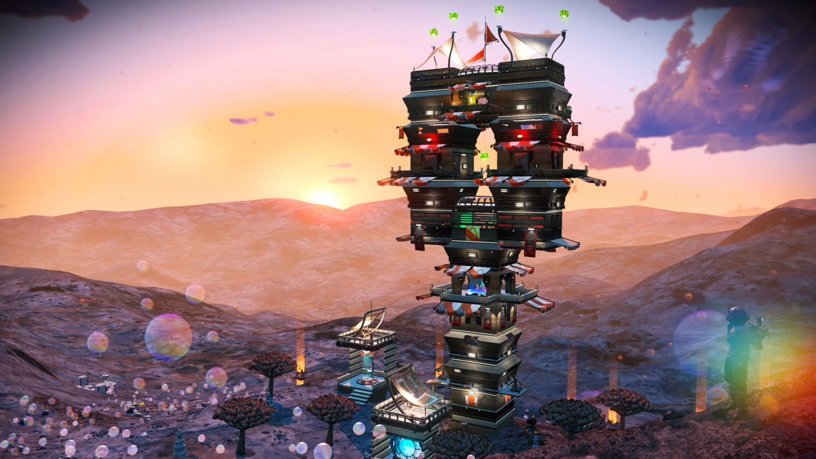 Wooden tower on QS mission planet